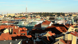 city (Prague) - urban buildings - roofs of buildings - sunny Footage