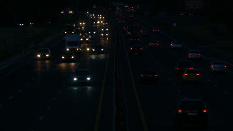 4K Ungraded: Highway at Night / Highway Road / Highway Traffic Footage