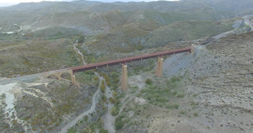 4K Aerial, Flight over a railroad bridge nad surroundings, Andalusia, Spain Footage