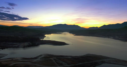 4K Aerial, Flight Into Dawn At A Barrier Lake, Andalusia, Spain stock footage