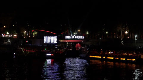 The River Seine in Paris. Night. France Footage