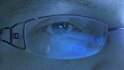 Reflection in the eye and glasses Footage