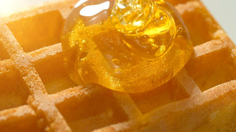 Close up, Honey dripping down a on waffle Footage