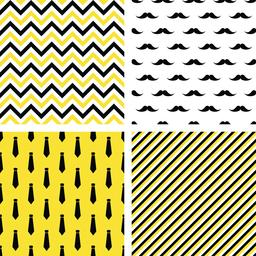 Set of seamless male patterns. Mustaches, neckties ベクター