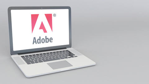 Opening and closing laptop with Adobe Systems logo. 4K editorial animation Footage