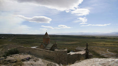 4K clouds timelapse of monastery. Landmark in the field. Famous place Footage