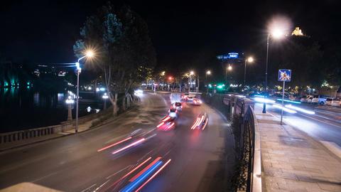 4K Timelapse video of night scene of transportation Footage