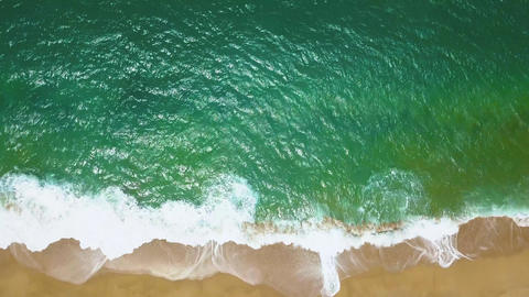 Top view of a deserted beach at sunset. Greek coast of the Ionian Sea Footage