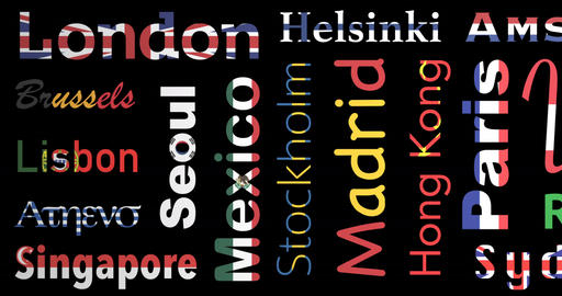 Flags colored pattern of cities names, loop Animation