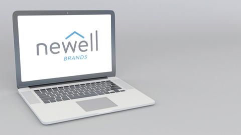 Opening and closing laptop with Newell Brands logo. 4K editorial animation Live Action