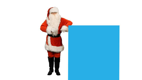 Santa Claus and blue screen for your text or animations, alpha channel Footage