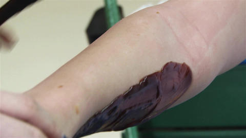 Beautician apply wax on his client 's arm to be able to wrest then hair 2 Footage