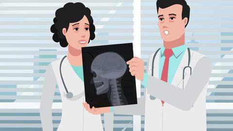 Cartoon Clinic / Doctors and head X-ray Animation