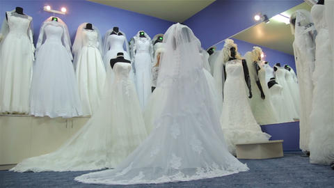 Wedding dresses. Beautiful slider movement Footage