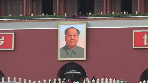 Portrait of Mao on Tiananmen Square Zoomed out Footage
