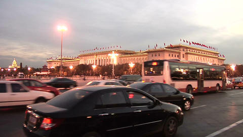 POV early Evening passing Tian'anmen Square Footage