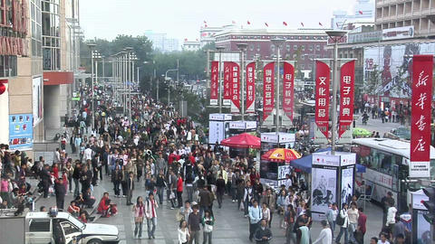 Sunday Afternoon Shoppers on Wangfujing Street Live Action