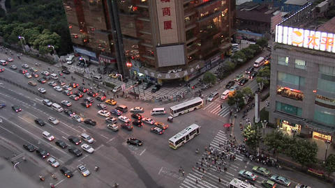 Evening Traffic on Tianmu Xilu, near the Main Railway Station Live Action