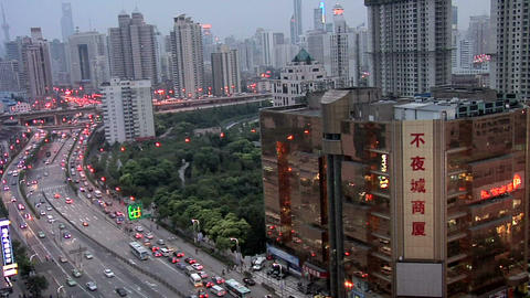 Elevated late afternoon View of Tianmu Xilu looking towards the City Center Live Action