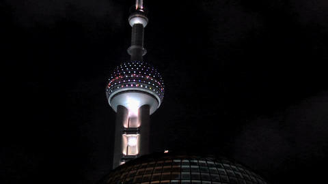 Oriental Pearl TV Tower At Night, Zoom Out With The Oriental Pearl Riverside Hot stock footage