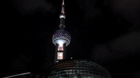 Oriental Pearl TV Tower at Night, Zoom out with the…, Live Action