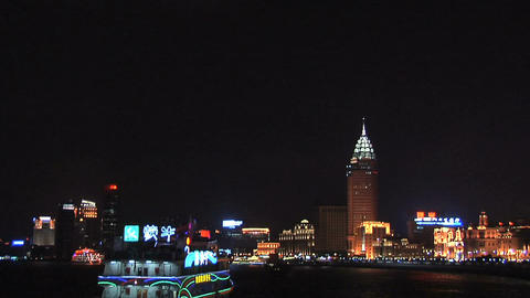 Sightseeing Boat on the Huang Pu River and Part of the Lit Bund Live Action