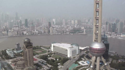 Elevated View to the Oriental Pearl TV Tower and Huang Pu River and the Bund Footage