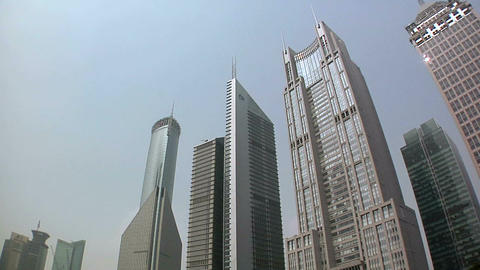 Hi Rising Banking Buildings at the Lujiazui Park with the Bank of China, Bocom F Live Action