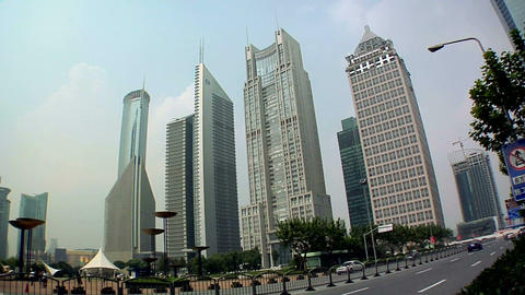 Hi Rising Banking Buildings at the Lujiazui Park with the Bank of China, Bocom F Footage