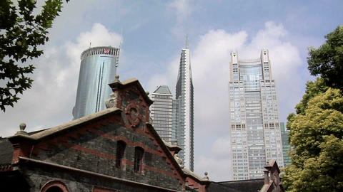 The old Facade of the Puton-Lujiazui Development Exhibition Hall and the High Ri Footage