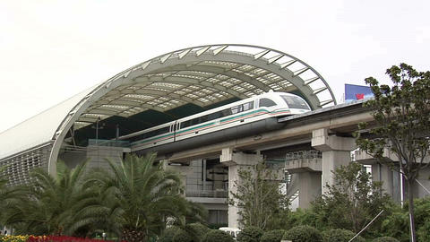 The High-Speed Maglev train, which connects the Pudong Airport with the City at  Footage
