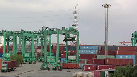 The Container Port At Northern Part Of Shanghai stock footage