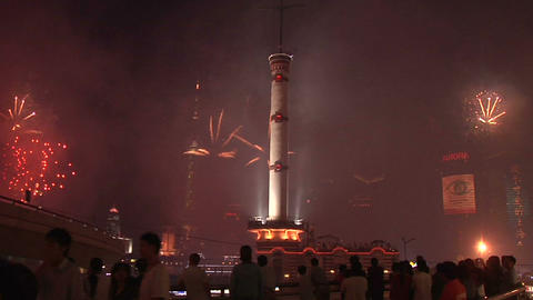 Fireworks over Pudong and in Front the Meteorological Signal Tower on Zongshan D Live Action