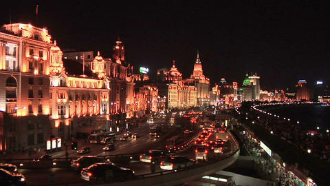The Bund at Night with Traffic on Zongshan Dong Yilu Footage
