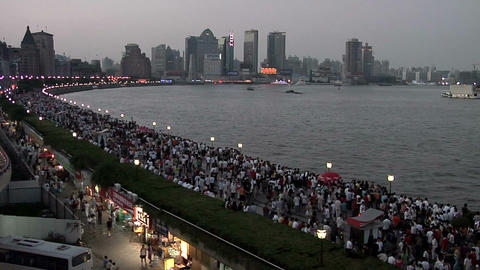 Masses Of People Visit The Huangpu Riverside Promenade An The National Holiday stock footage