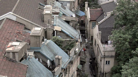 Elevated View to the Rooftops of Buildings behind Nanjing Road West Live Action