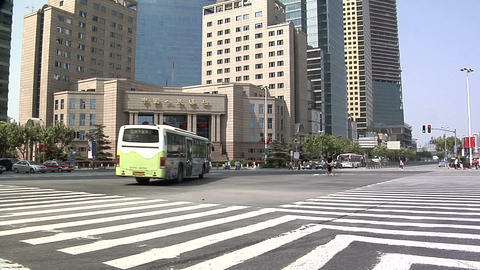 Low Angle View of the Intersection of Pudong Road South and Lujiazui Road Live Action