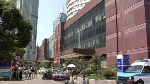 The Exterior of the Shanghai East International Medical Center in Pudong Live Action