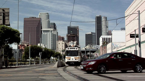Metro Train Station on Pico Blvd, Los Angeles with Skyline of Los Angeles Downto Live Action