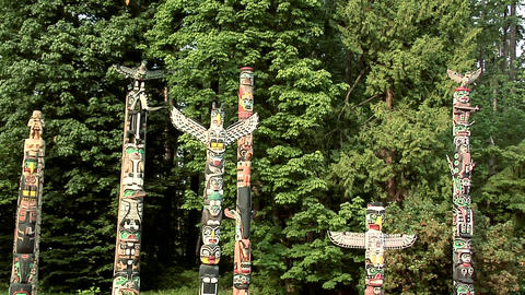 Totem Poles in Stanley Park, Vancouver Footage