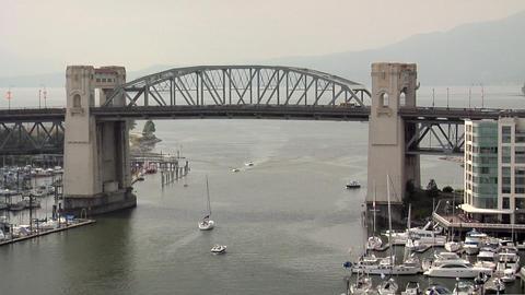 Burrard Bridge and False Creek , Vancouver Footage