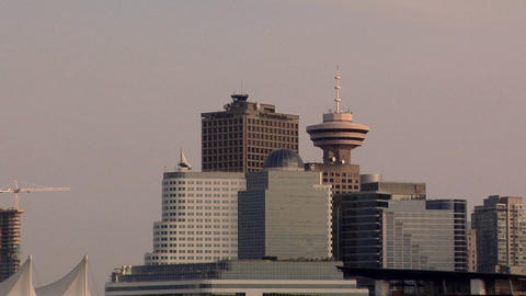 Vancouver Skyline with the Vancouver Lookout Tower Live Action