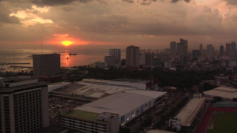 Dramatic Sunset and the Skyline of Malate and Manila Bay, Philippines Footage