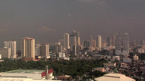 Skyline of Malate and Ermita early morning, Manila, Philippines Footage