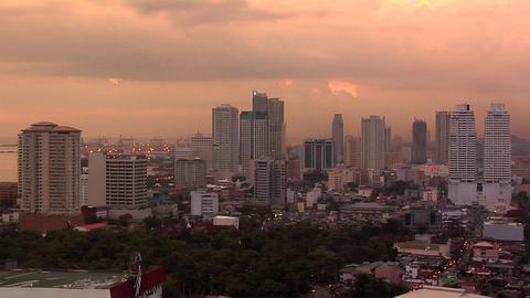 Skyline of Malate and Ermita at Sunset, Manila, Philippines Footage