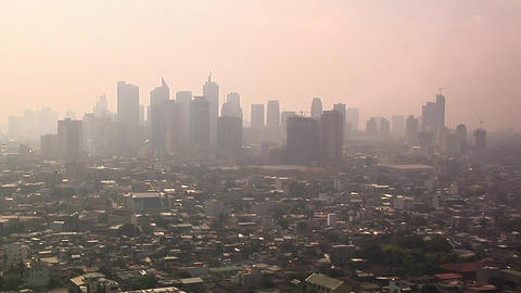 Skyline of Makati in morning Mist, Manila, Philippines Footage