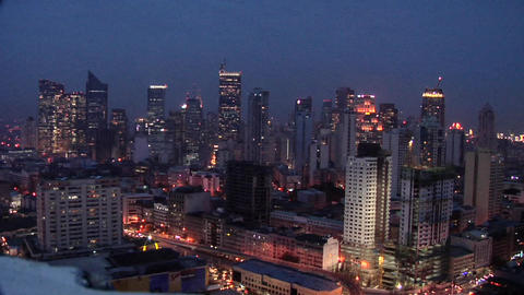Elevated View of the Skyline of Makati, looking North, Philippines Live Action