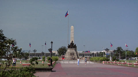 Rizal Park and Rizal Memorial in Manila, Philippines looking East Footage