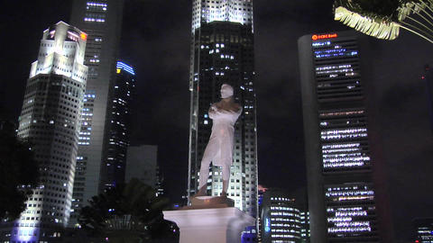 Historical Site and Statue of Sir Thomas Stanford Raffle (first landed in Singap Footage