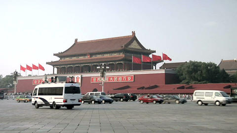 Afternoon Traffic passing Tian'anmen Gate Footage